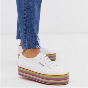 Rainbow Platform White Superga Sneakers